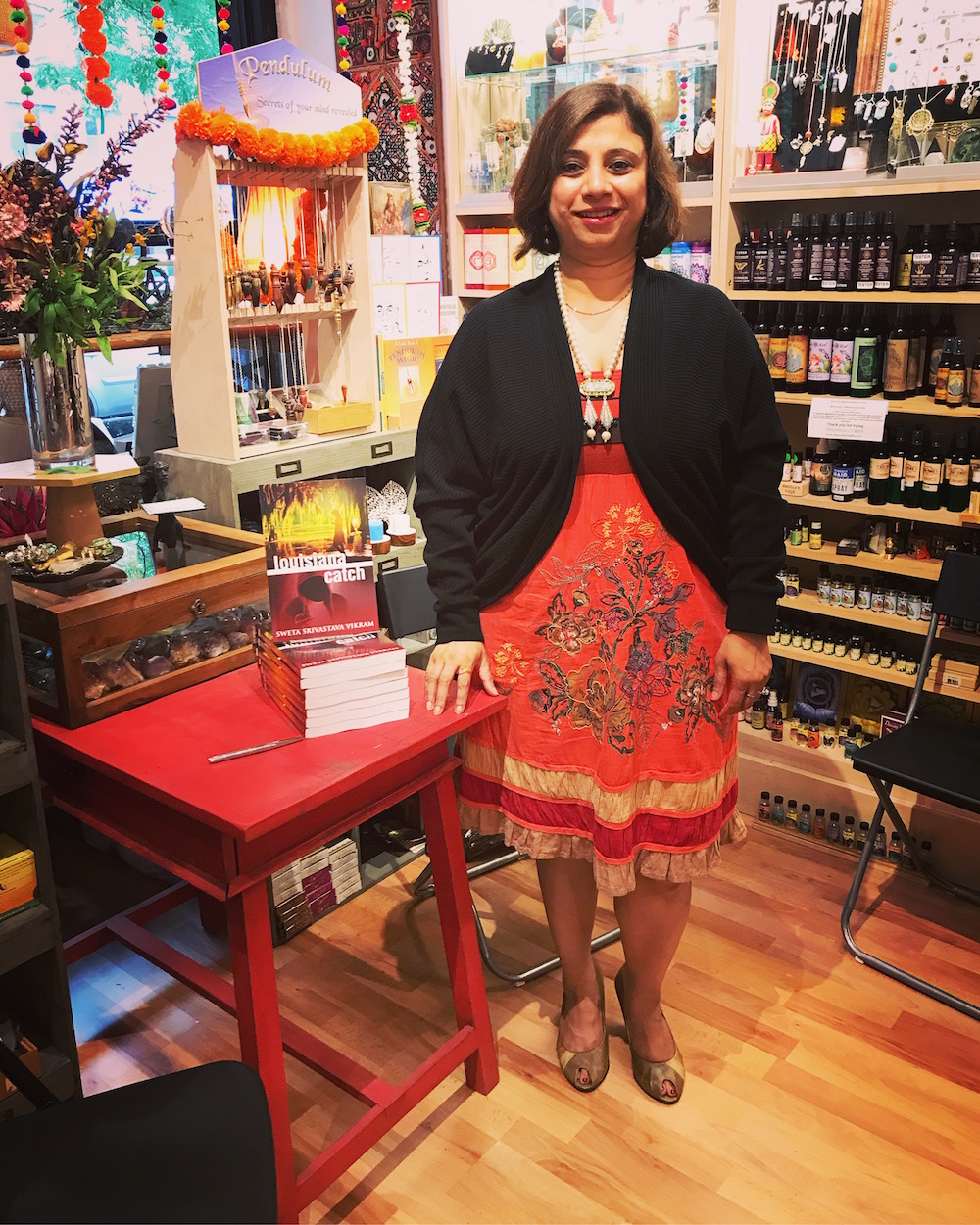 Sweta does an author meet and greet at Aum Shanti Bookshop.