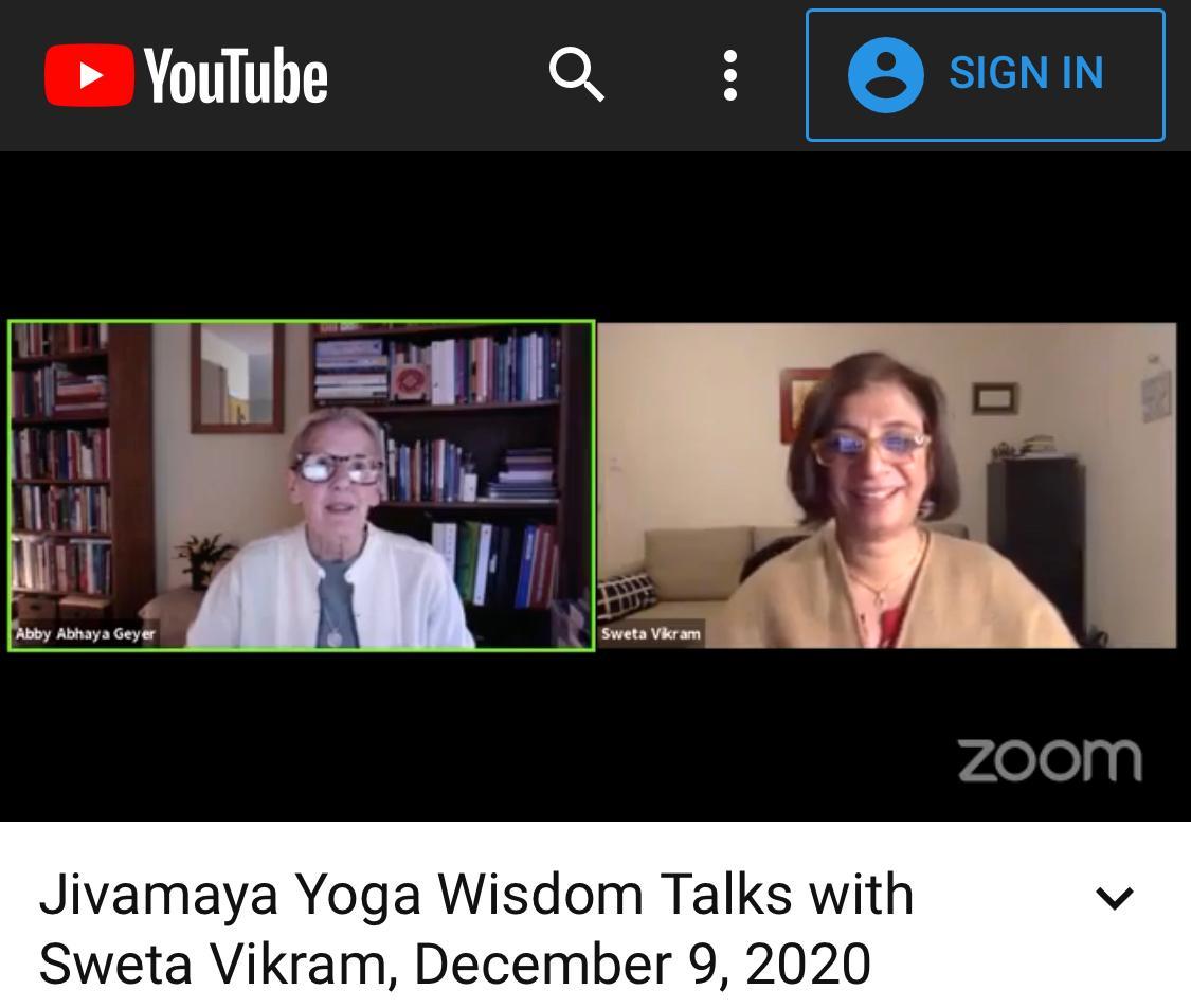 Jivamaya Yoga Wisdom Talks with Sweta Vikram.