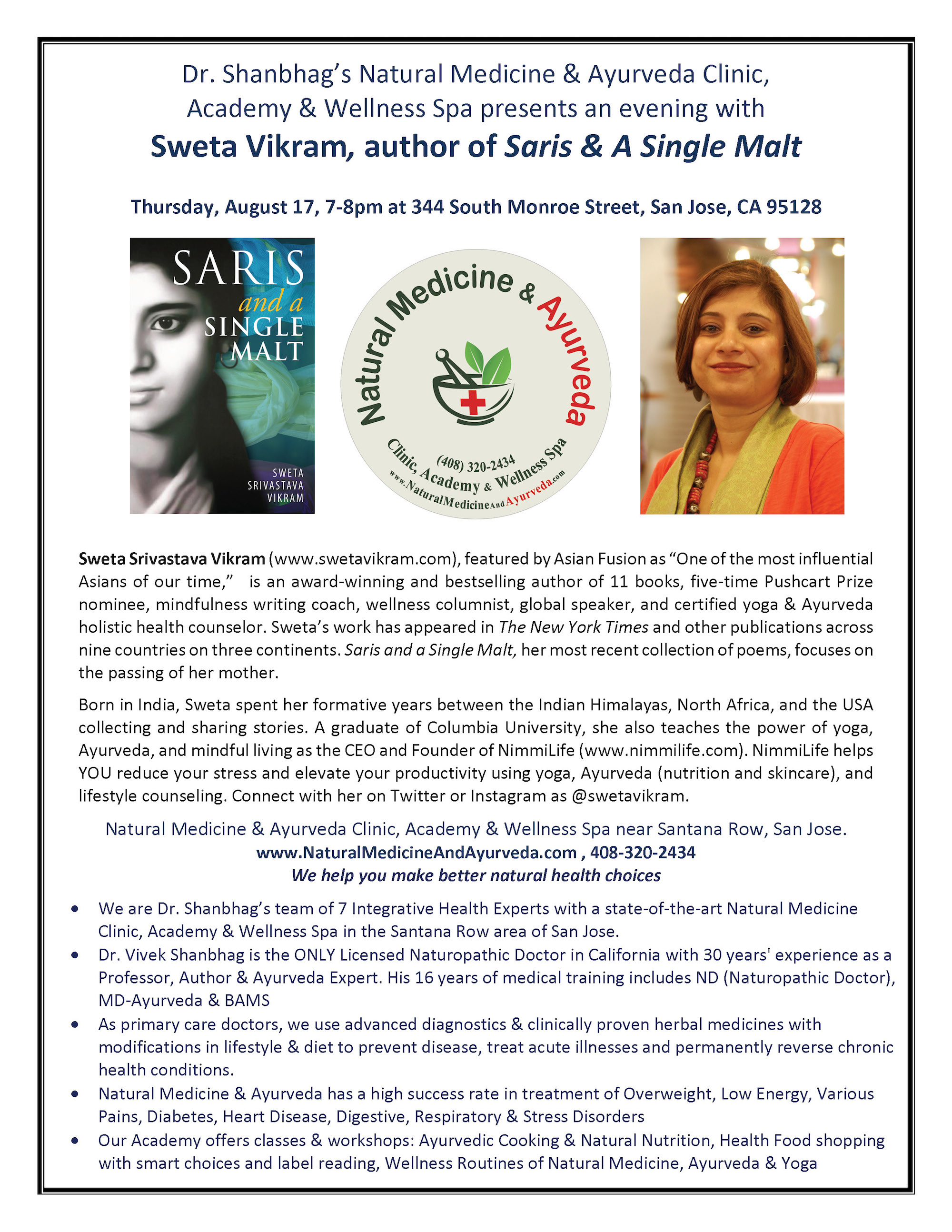Sweta Vikram - SAASM California Event Flyer