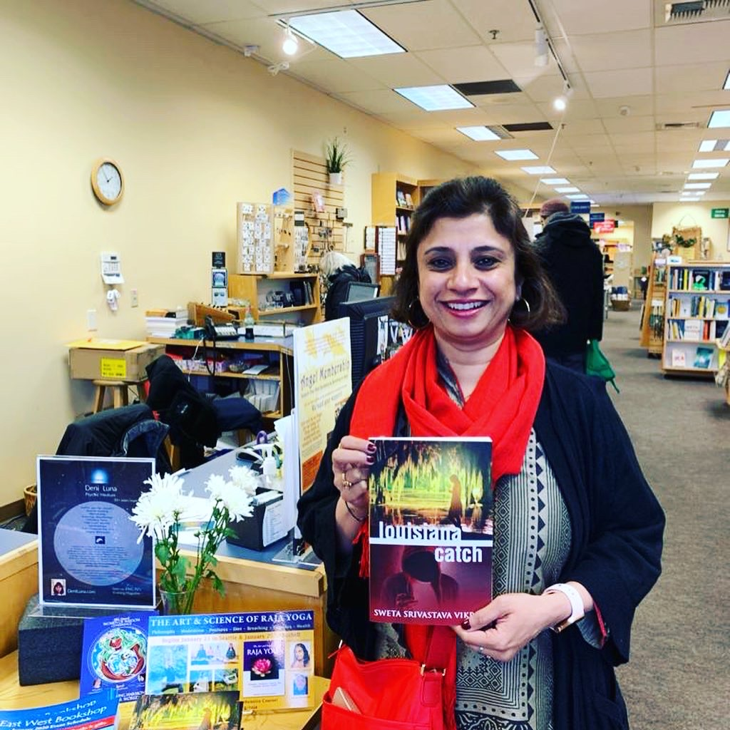 Sweta at East West Bookshop, Seattle.