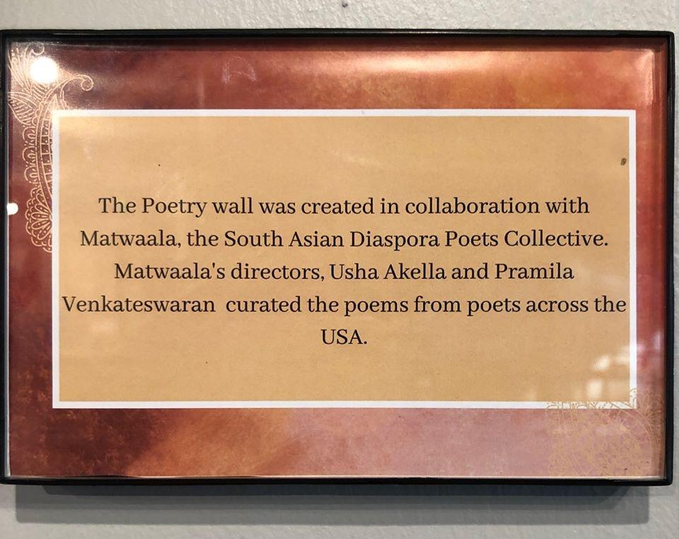 Poem on display: Smithsonian, 'Beyond Bollywood; project.